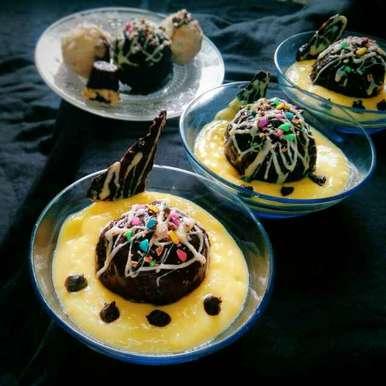 Photo of Oreo chocolates balls with vanila custard dip by Sanchari Karmakar at BetterButter