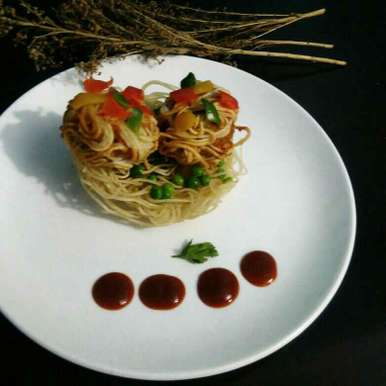 Peanut noosles kofte in noodles basket recipe in Hindi,पीनट नूडल्स कोफ्ते इन नूडल्स बास्केट, Sangeeta Bhargava .