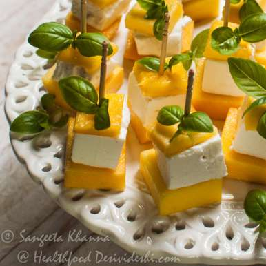 Photo of Mango Feta Insalata on skewers by sangeeta khanna at BetterButter