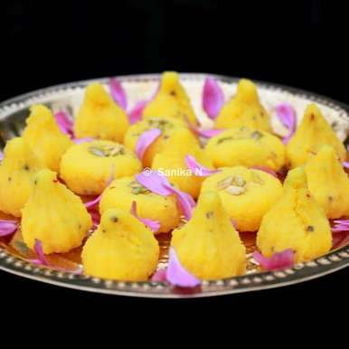 Photo of Kesar Malai Modak Pedha by Sanika SN at BetterButter