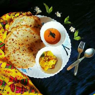 Photo of Masala oats pancake with south style Sukha aloo and Kara chutney by Sanjhbati sen at BetterButter