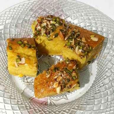 Photo of Eggless Mango Saffron Cake by Sanuber Ashrafi at BetterButter