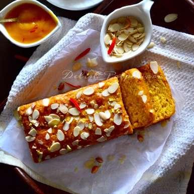 Photo of Eggless Mango Cake with Almonds and Saffron by Saswati Hota at BetterButter
