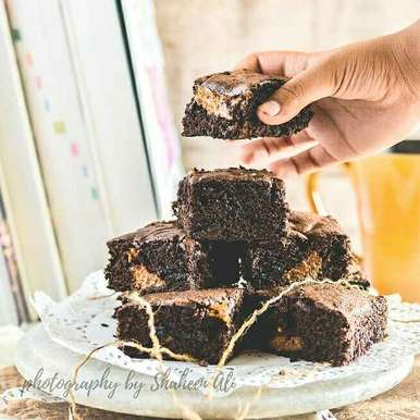 Photo of Salted Caramel Filled Dark Chocolate Brownie by Shaheen Ali at BetterButter