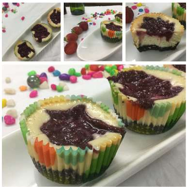 Photo of Strawberry and Hung Curd Cheesecakes with a Chocolate base (Mini) by Shalini Digvijay at BetterButter