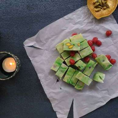 Photo of Pistachio , Sour Cherries and White Chocolate Fudge and Happy Diwali by Shalini Digvijay at BetterButter