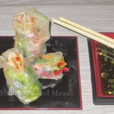 Photo of ORIENTAL RICE PAPER ROLLS WITH SHRIMP AND VEGETABLE SALAD FILLING by Shobha Keshwani at BetterButter