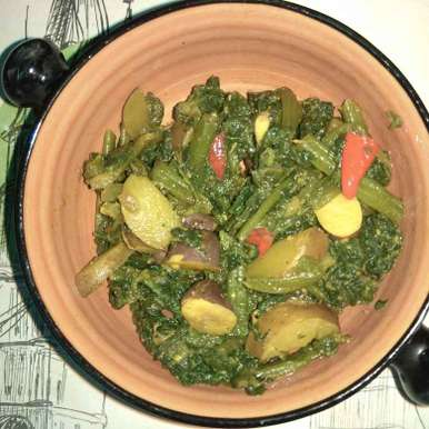 Photo of Pumpkin leaves cooked with Jack fruit seeds by Smrita Kashyap at BetterButter
