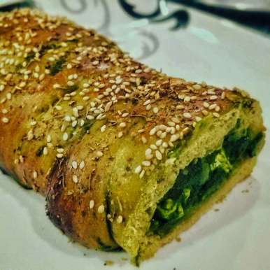 Photo of Whole Wheat Spinach Bread stuffed with Palak Paneer by Sneha Marathe at BetterButter