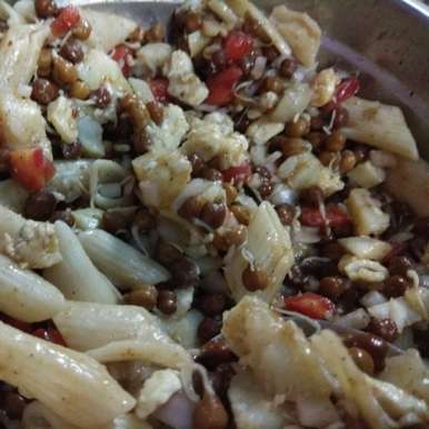Photo of Sprout Black Chana Salad with Pasta. by Sonia Batra at BetterButter