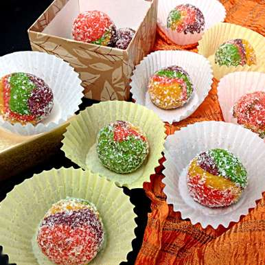 Photo of Rainbow Carrot Coconut Ricotta Cheese Ladoo by Sonia Shringarpure at BetterButter