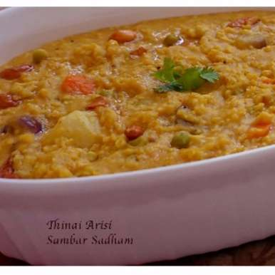 Photo of Thinai Arisi (Foxtail Millet) Sambar Sadham by Sri Vidhya at BetterButter