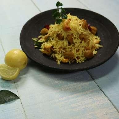 Nutrela Soya Lemon Rice, How to make Nutrela Soya Lemon Rice