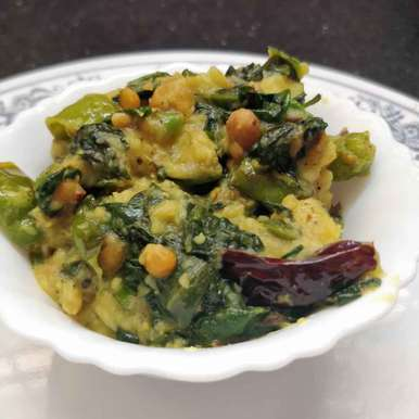 Photo of Elephant yam Malabar Spinach curry by Sudha Badam at BetterButter