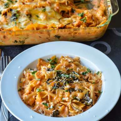 Photo of Baked pasta in creamy spinach rose sauce by Suganya Hariharan at BetterButter