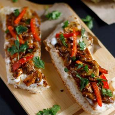 Photo of Mushroom Bruschetta with fire roasted Red bell pepper by Swayampurna Singh at BetterButter
