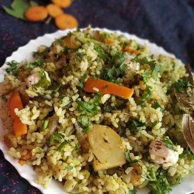 Lotus seeds and Red sorrel leaves pulav recipe in Telugu,గోంగూర తామరగింజల పులావు, Divya Konduri