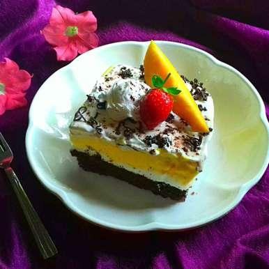 Photo of Mango-Vanilla chocolate ice cream cake by Tamali Rakshit at BetterButter