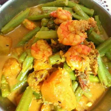 Photo of Pumpkin & Prawn curry with Green Amaranth Stems. by Tulika Biswas at BetterButter