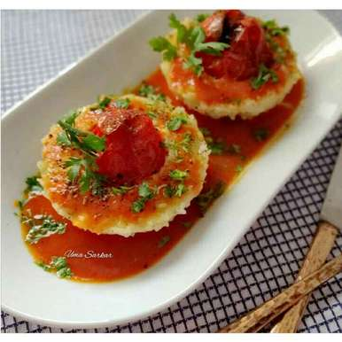 Photo of Chicken stuffed tomato rice cake by Uma Sarkar at BetterButter