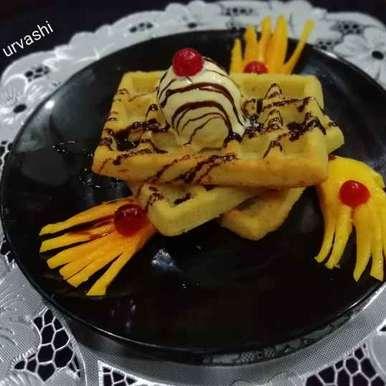 Photo of Creamy mango waffles by Urvashi Belani at BetterButter