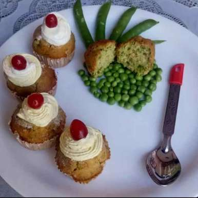 Photo of Green Peas Cup Cakes by Urvashi Belani at BetterButter