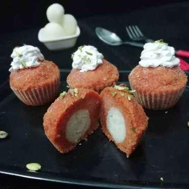 Photo of Carrot Halwa Rasgulla Cupcake by Urvashi Belani at BetterButter