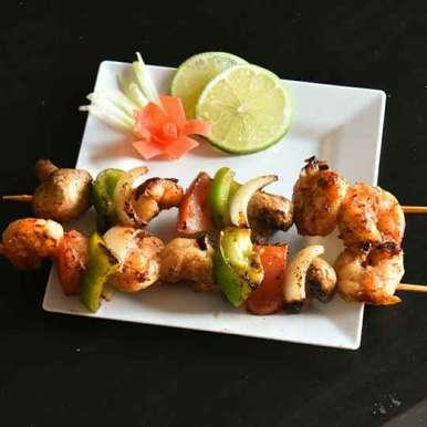 Grilled Tiger Prawn and Mushrooms recipe in Bengali,গ্রিলড বাগদা চিংড়ি আর মাশরুম, usashi mandal