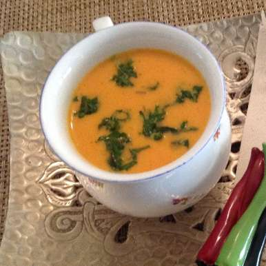 Photo of Cold creamy Tomato soup with a twist( orange juice ) by usha balagopal at BetterButter