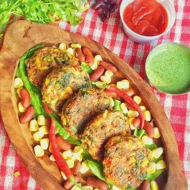 Beans,spinach and corn tikki recipe in Hindi,राजमा,पालक और कॉर्न टिक्की, uzma shouab