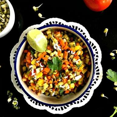 Photo of Mung Bean Sprouts, Mango and Sweet Corn Salad by Vanitha Bhat at BetterButter