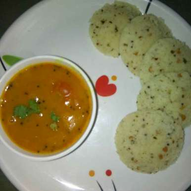 Photo of Rava idali with sambhar by Varsha Joshi at BetterButter