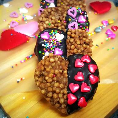 Photo of Valentine's Chocolate-Dipped Rice Krispie Treats (Heart Shaped) by Vibha Bhutada at BetterButter