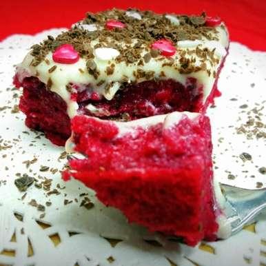 Photo of Red Velvet Poke Cake by Vibha Bhutada at BetterButter