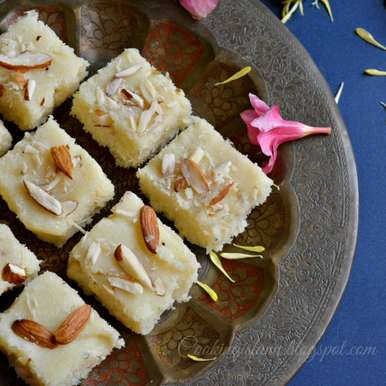 Instant Rose Coconut Burfi, How to make Instant Rose Coconut Burfi
