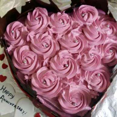 Photo of Chocolate Heart Cake With Cream Rosettes by Zeba f lari at BetterButter